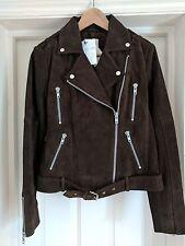 Gestuz via Asos Daya Suede Leather Biker Jacket Brown Size 8 36 - NWT