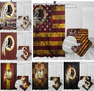 4PCS Washington Redskins Bathroom Rugs Set Shower Curtain Toilet Seat Cover Gift