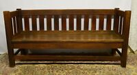 Antique Mission Arts and Crafts Solid Oak Sofa Bench Settee Original finish