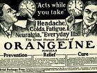 1903 Orangeine Powder Remedy Cure Quack Medical Doctor Original Paper Ad 4811