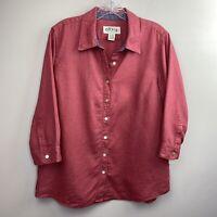 Orvis Womens Blouse M 10/12 100% Linen Red Lagenlook Top Button Front Shirt