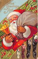 Christmas Postcard Santa Claus Ringing Gold Bell, Stockings, Bag of Toys~125314