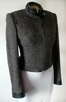 Karen Millen Biker Jacket Size 12 Wool & Silk Tweed Zip Cuff Tailored Flawless