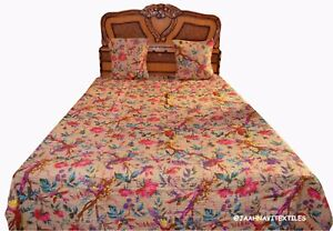 Bird Print Indian Handmade Cotton Bed Cover Blanket Throw Ethnic Kantha Quilt