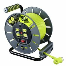 80 ft  4 Outlets Extension Cord 14/3 Gauge Large Open Reel Overload Reset Button
