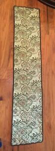 Table Runner Waverly Paisley Stripe Green Brown quilted 100% cotton table linens
