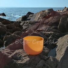 "10"" D Sacral Orange Quartz Crystal Singing Bowl Meditation Chakra Healing"