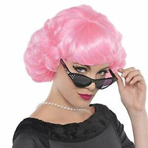 Pink Lady Wig 50's Short Grease Sock Hop Fancy Dress Halloween Costume Accessory