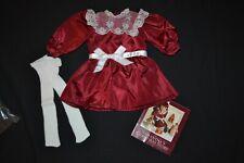 AMERICAN GIRL- SAMANTHA CRANBERRY DRESS W/ TIGHTS & PAMPHLET