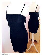 ✨💍BAY Trading Black Flapper Art Deco Tassel Dress Size UK 10 EU 38 US 6 FAST📮✨