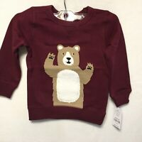NWT Carter's Baby Toddler Boy Size 2T Maroon Fuzzy Teddy Bear Sweatshirt Shirt