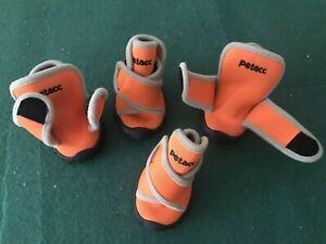 Petacc Dog Shoes. Size Medium. Orange Colour. Neoprene. Four shoes.