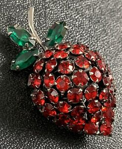 "Vintage High End Strawberry Brooch Pin 2"" Green & Red Crystal Rhinestones"