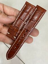 20mm/18mm Padded Brown  Genuine ALLIGATOR, CROCODILE SKIN WATCH STRAP BAND