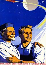 "Reproduction Russian Propaganda ""Space"" Poster, Wall Art, Size A2"