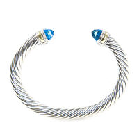DAVID YURMAN Cable Classic Bracelet with Blue Topaz & 14K Gold 7mm $775 NEW