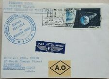 FRANCE 1967 PLEUMEUR BODOU SPACE TRACKING STATION CACHET COVER + A. O. LABEL