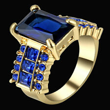 Size 8 Princess Cut Blue Sapphire Wedding Ring 10KT Yellow Gold Filled Jewelry