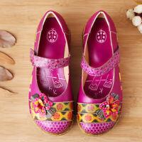 SOCOFY Women Platform Vintage Folklore Leather Floral Hook&loop Shoes Casual Sz