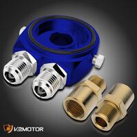 Blue Aluminum M20 Oil Filter Sandwich Plate Adapter 1/8 NPT Oil Cooler Kit