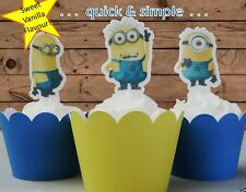 #560. Minions stand up edible wafer Cupcake Cake Toppers Despicable Me