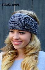Knit Ear warmer Chunky Flower Head Wrap Button Adjustable Headband Winter Gray