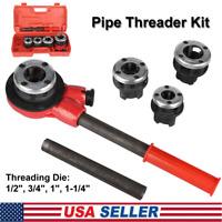 Ratchet Pipe Threader Kit Set Ratcheting w/4 Stock Dies & Handle Plumbing Case