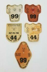 Lot of 5 INDIANAPOLIS 500 Pit Badge Cardboard Backers 1962 1965 1967-96 NO BADGE