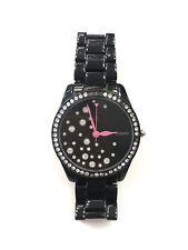 Betsey Johnson Women's Crystal Sparkle Black Bracelet Watch 40mm