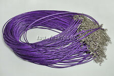 20Pcs Purple Real Leather Chains Necklace Charms Findings String Cord 1.5mm FREE