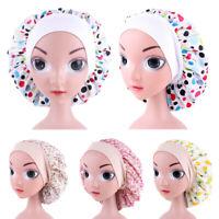 Girls Kids Cotton Night Sleep Cap Hair Care Bonnet Hat Wide Band Elastic Adjust