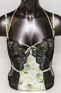 Victoria's Secret Designer Collection Green Floral Fantasy Island Corset Bustier