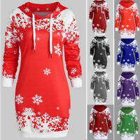 Women Merry Christmas Snowflake Printed Tops Hooded Sweatshirt Blouse Outerwear