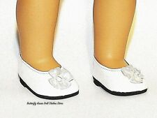 "White Bead & Bow Slip On Shoes 18"" Doll Clothes Fit American Girl Dolls"