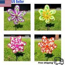 Lot of 4X Double Layer Colorful Windmill Wind Spinner Garden Decoration