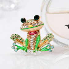 Creative Enamel Brooch Pins Crystal Green Frog Cartoon Enamel Badge N7