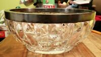 BEAUTIFUL CUT GLASS BOWL WITH SILVER PLATE METAL SURROUND SWEETS TRIFLE DISH