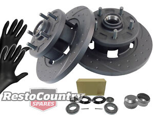 Holden Torana Front Disc Brake Rotors Slotted + Dimpled+ Wheel Bearings LH LX UC