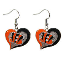 Brand New NFL Cincinnati Bengals Swirl Heart Earring Dangle Charm