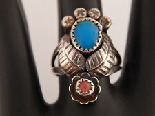 Designer Blue Red Turquoise Ring Sterling Silver 925 Vintage Double Feather