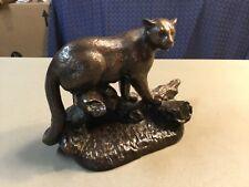 Vintage Henry Van Wolf Bobcat/Mountain Lion Sculpture,  Bronzed Metal-SIGNED
