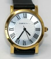 Cabochon Women's Gold Tone Stainless Quartz Analog Black Leather Band Watch NEW