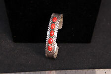 """Navajo 5 Coral Setting Bracelet 5 1/4"""" + 1"""" gap"""