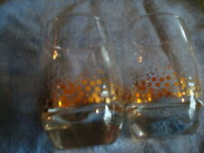 New listing Vintage Set of Two Rocks or Milk Clear Glasses with Gold Plate (24Kt) Speckles