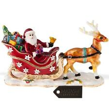 Hand Painted Santa's Reindeer Ornament w/ 24K Gold & Crystals by Matashi