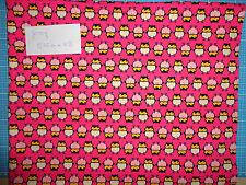 Jersey Eulen in Natur und Rose auf Pink - 0,75m x VB - NEU