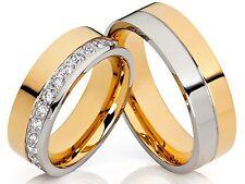 2 Ringe Eheringe Trauringe & Gravur mit vielen Zirkonia