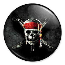 "Pirates of the Caribbean Skull Logo 25mm 1"" Pin Badge Johnny Depp Jack Sparrow 1"
