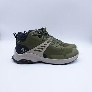 Size 12 Men's Salomon X Raise MID GTX Hiking Shoes 410958 Olive Night/Black/Kaki