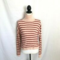 LC Lauren Conrad Womens Extra Small Pink Red Striped Long Sleeve Sweater